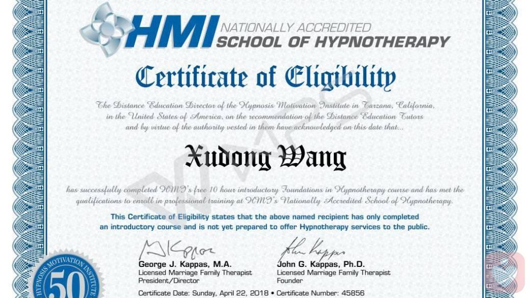 hmi美式催眠师证书