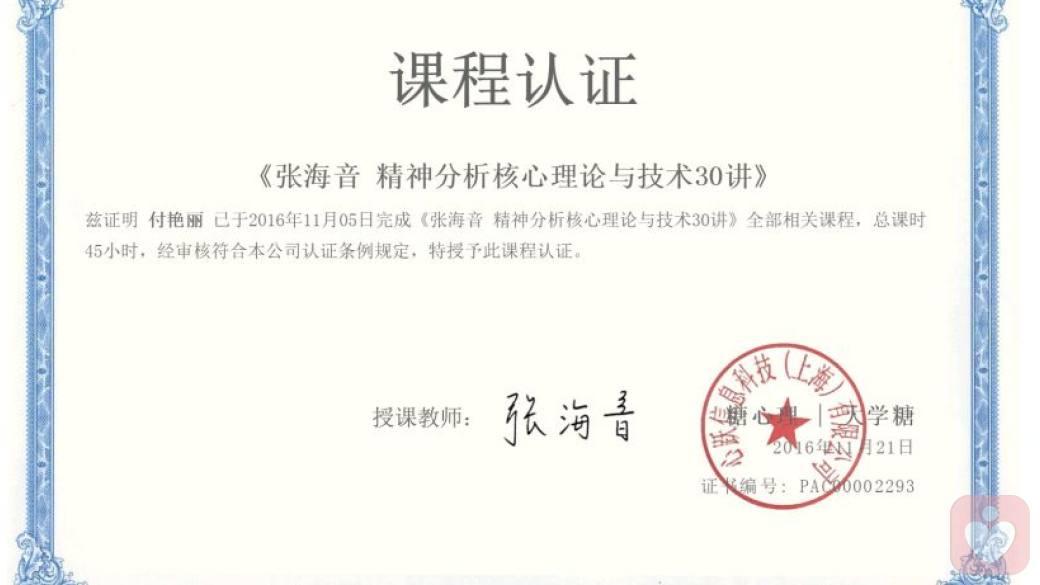 张海音精神分析核心理论与技术