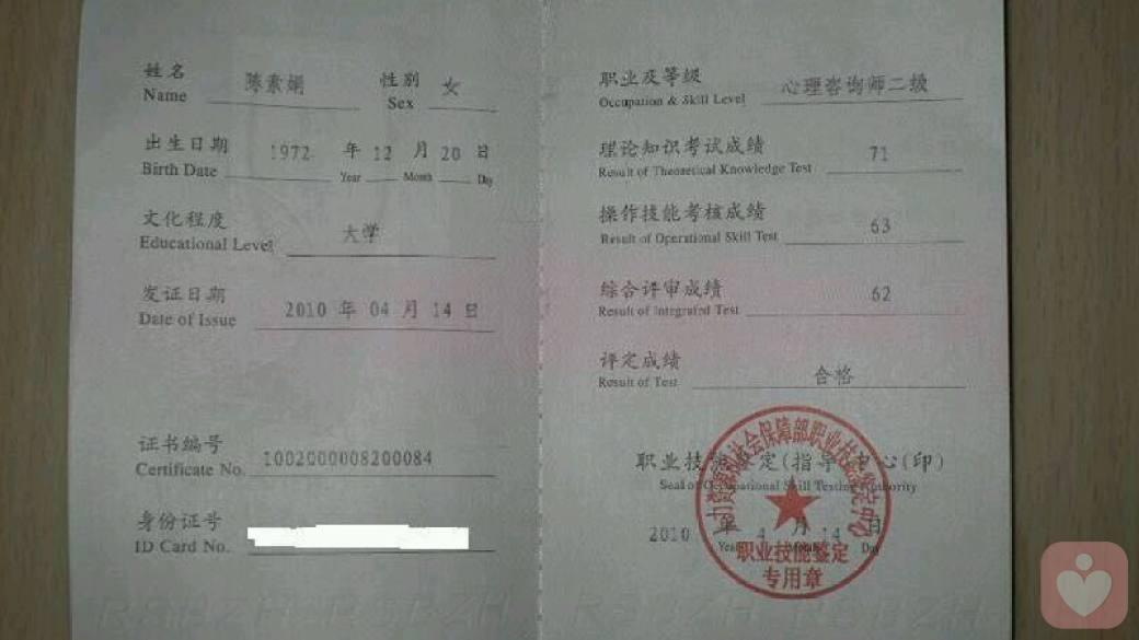 执业资格证书